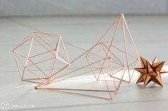 Copper Origami Table Decor https://www.facebook.com/PLANK-Create-798235656928562/