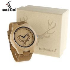 16.19$  Buy here - http://alij1h.shopchina.info/go.php?t=32485747839 - BOBO BIRD M08 Mens Deer Head Design Buck Bamboo Wooden Watches Luxury Wood Bamboo Watches With Soft Leather Strap Quartz Watch   #buymethat