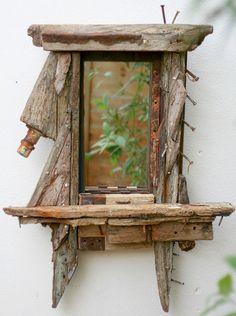 Driftwood Mirror, Wrecked fishing Boat wood, sculptural Drift wood Wall Art