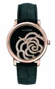 Valentino Women's Rose Gold-Plated Diamond Black Crocodile Leather Watch Valentino Watches, Rose Watch, Valentino Women, Diamond Are A Girls Best Friend, Rose Gold Plates, Crocodile, White Leather, Jewelry Watches, Jewelry Box