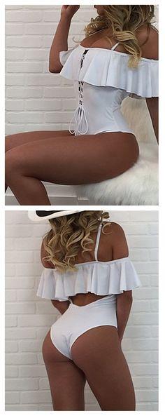 Ruffle me up one piece swimwear bikini! Stunning, isn't it?! Comes in white, wine burgundy, blushing pink and black colors at $12.99.