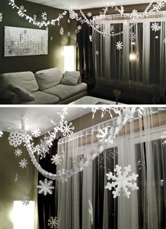 For any season, just change out colors and shapes! Paper Chains and Snowflakes