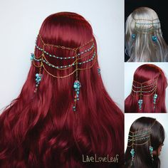 Turquoise bead cluster and gold chain hair piece, headpiece, Tiered chain head piece, headdress, statement accessory, accessories, headchain www.etsy.com/shop/liveloveleaf  #unique #handmade #handcrafted #hair #accessory #accessories #hairstyle #headchain #head #headdress #hairpiece #headpiece #piece #fun #redhair #blondehair #darkhair #fashion #chain #hairchain #draped #blonde #brunette #longhair