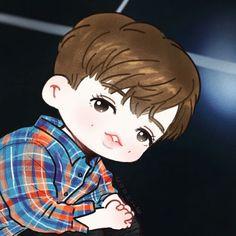 Exo Cartoon, Cartoon Art, Yixing Exo, Baekhyun, Exo Fan Art, Kpop Exo, Cute Art, Chibi, In This Moment