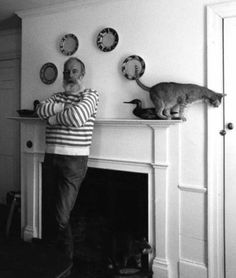 Edward Gorey and cat.
