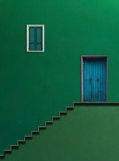Verde Speranza — handa: Blue Door by Alfon No - Minimal Photography, Photography Composition, Colour Photography, Popular Photography, Green Life, Green Building, Windows And Doors, Green Colors, Pastel Colours