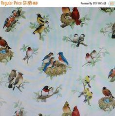 YEAR END SALE Beautiful Birds, Bird Families,Cotton Fabric, Elizabeth's Studio, Fast Shipping N319