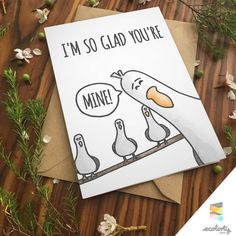 MINE FINDING NEMO Greeting Card   Funny Punny Love Pixar Cute Boyfriend Girlfriend Anniversary Disney Seagull Drawing Watercolor Handmade iPad Pro Marlin Gill Destiny Mr Ray Bailey Hank Derp Birds   Download or Physical by ecolorty on Etsy