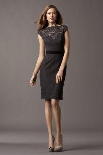timeless charcoal lace cap sleeve boat neck knee length short sheath bridesmaid dress
