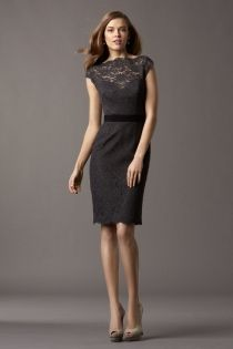 timeless charcoal lace cap sleeve boat neck knee length short sheath bridesmaid dress