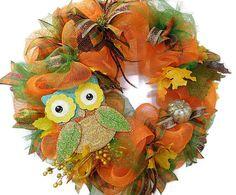 Fall Wreath Orange Owl Wreath Deco Mesh Fall by HearttoHeartNC