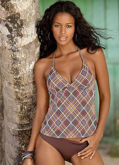 18dd891456 H.I.S Brown Checked Tankini Ebony Love, Tankinis, Baden, Beauty Women,  Black Women