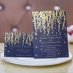 foil gold leaves navy blue wedding invitation cards