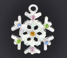 10 pcs Silver Pewter RHINESTONE SNOWFLAKE CHARMS or by SmartParts, $6.99