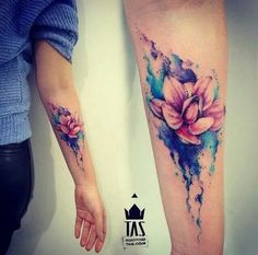 Beautiful Flower Watercolor Tattoo.