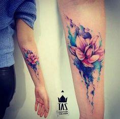 Beautiful Flower Watercolor Tattoo.
