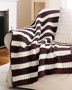 Herringbone Afghan to Crochet pattern by Bernat Design Studio - Working on one in taupe and variegated blue, cream, brown, tan