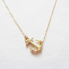 Sideways Gold Anchor Necklace from Teilla. #jewelry #opensky