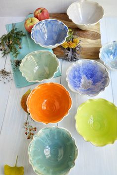 Ceramic Flower Bowls from Lee Wolfe Pottery