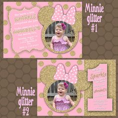 Minnie Mouse Pink Gold Glitter Birthday Party Invitations Photos Printable Uprint Digital Printed * 5 designs * by Mini Mouse 1st Birthday, Baby Girl 1st Birthday, Minnie Birthday, First Birthday Parties, First Birthdays, Birthday Ideas, Minnie Mouse Pink, Minnie Mouse Party, Minnie Mouse Birthday Invitations