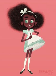 Karly Jade Illustration - Curiouser and curiouser ✨ Here is a quick Alice for my first submission for the Character Design - Kid Character, Character Concept, Concept Art, Cartoon Kunst, Cartoon Art, Character Design Animation, Character Design References, Black Cartoon, Character Illustration