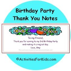Birthday Party Thank You Notes to attach to children's Goodie Bags