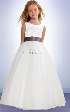 white/ivory combo with plum sash. Old Style may be available at Bride-to-Be or on sample sale