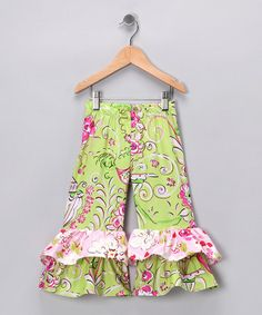 Take a look at this Green & Fuchsia Ruffle Pants - Infant & Girls by Chatti Patti on #zulily today!
