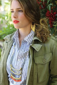 Tierdrop Necklace with light grey checkered shirt
