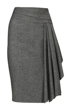 Karen Millen Twisted Tweed Skirt Grey: pencil skirt with style side drapings, sash, pleatings, folds. Pastel Outfit, Modelos Fashion, Tweed Pencil Skirt, Pencil Skirts, Work Fashion, Fashion Design, Gothic Fashion, Fashion Fashion, Gray Skirt