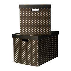 PINGLA Doos met deksel - zwart, 56x37x36 cm - IKEA