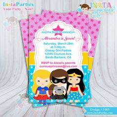 SUPERHERO girl invitations girls girly superheros Birthday Party invitation digital printable file 4x6 invites pink blue yellow ideas girly girl batgirl batman wonder woman super girl cute cutest ever by www.InstaParties.com