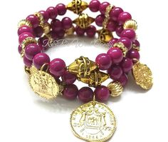 Coin Charm Beaded Bracelet Set by RandRsWristCandy on Etsy $9.00