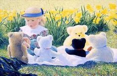 Lee Tiller: 'The Tea Party': a carefree painting of childhood. Fascinating how the bears' fur diffuse the light in the back ground, literally acting as lightcatchers.