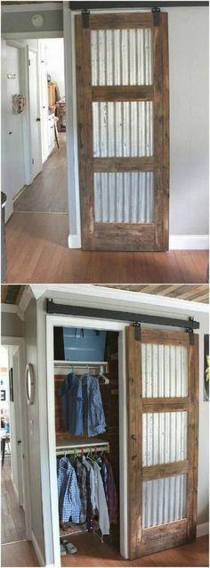 63 New Ideas For Rustic Barn Door Decor Bedrooms Bedroom Barn Door, Barn Door Decor, Barn Door Closet, Diy Sliding Barn Door, Diy Barn Door, Diy Bedroom, Hallway Closet, Bedroom Closets, Bathroom Closet