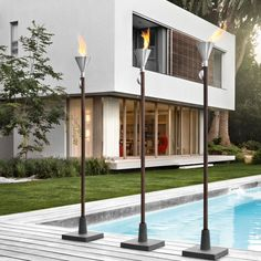 Discover this fun, elegant Orchos garden torch light by Blomus. This gel burning garden torch offers a stylish, modern look. Outdoor Torches, Tiki Torches, Jacuzzi, Garden Torch, Villa, Outdoor Lighting, Outdoor Decor, Outdoor Ideas, Mid Century Modern Lighting