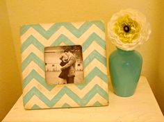 Light blue & White Chevron Stripe Picture Frame by StellabytheSea, $18.00