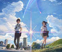 Anime Your Name.  Taki Tachibana Mitsuha Miyamizu Kimi No Na Wa. Fond d'écran