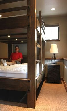 "Our bunk beds are designed for adults, with 38"" of space between the upper and lower bunks. This allows for plenty of headroom. Our optional lighting packages will give your guests a luxurious experience they won't soon forget."