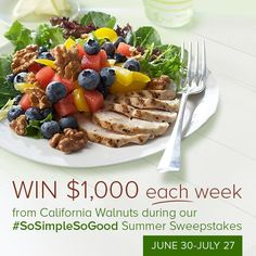 Enter to win $1,000 in the CA Walnuts #SoSimpleSoGood Summer Sweepstakes! Click here to enter: http://bit.ly/1jVHlNi