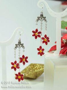 Mill Lane Studio: Poinsettia Earrings - Twelve Days of Christmas - Day 9