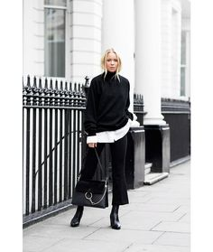Tailored Flares, turtleneck & a white shirt.