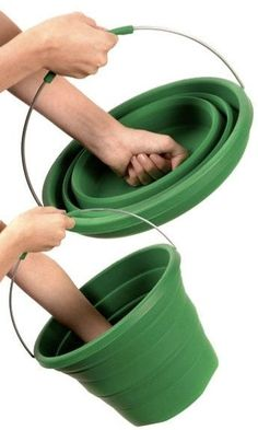 Collapsible Bucket! Basic Camping Gear - forget camping! I could use these around the house and save on storage. - More camping stuff at http://outdoorgearhead.com                                                                                                                                                                                 More