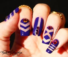 Geometric Purple Negative Space Nail Art Design featuring OPI and Swarovski crystals