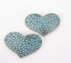Verdigris Blue Patina Heart Pendant Blue Brass by BijiBijoux