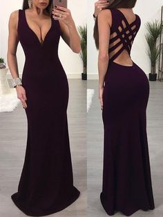 Solid Strappy Low Cut Caged Back Maxi Dress Low Cut Dresses, Trendy Dresses, Tight Dresses, Elegant Dresses, Sexy Dresses, Beautiful Dresses, Nice Dresses, Evening Dresses, Fashion Dresses