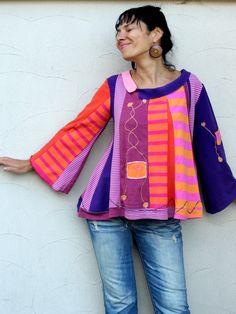 jamfashion on etsy. Summer multicolored sweater blouse recycled by jamfashion on Etsy, $83.00