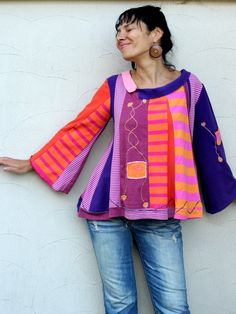 Summer multicolored sweater blouse recycled van jamfashion op Etsy