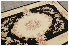 4X6 Aubusson Area Rug Shabby French Chic Home Decor Wool Carpet BLACK CREAM PINK | eBay