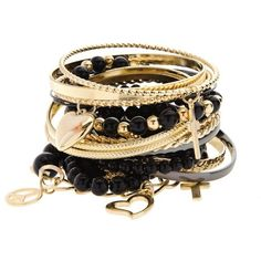 Gold Black Mish Mash Bangle Stack ($21) ❤ liked on Polyvore